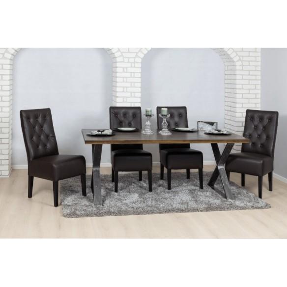 Stół w loftowy z blatem drewnianym
