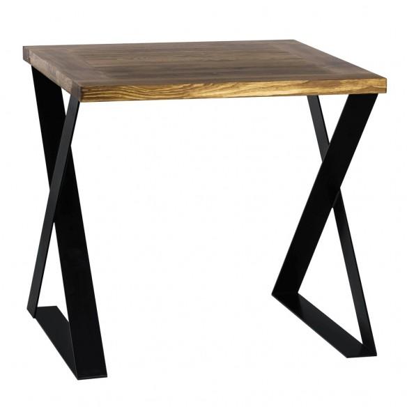 Kwadratowy stół z blatem drewnianym do jadalni
