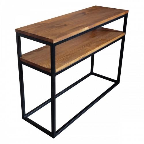 Konsola loftowa z drewna i metalu.