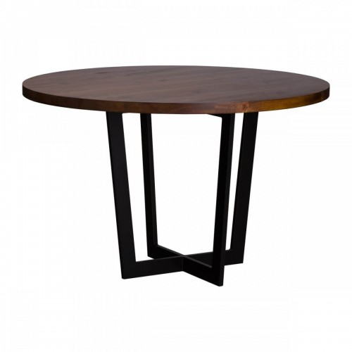 Okrągły stół industrialny z blatem drewnianym