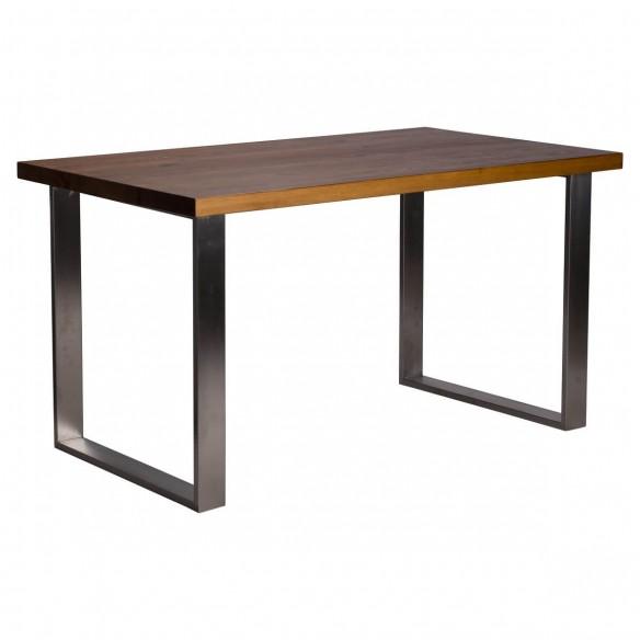 Stół ze stali nierdzewnej blat drewniany