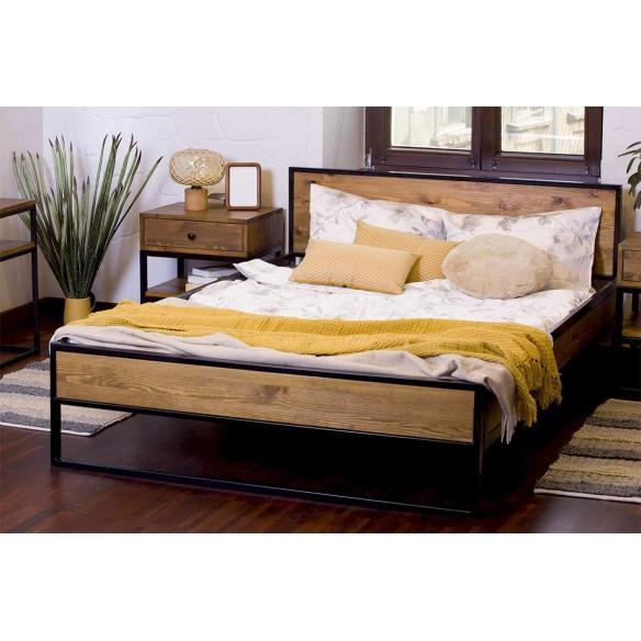 łóżko w stylu industrialnym