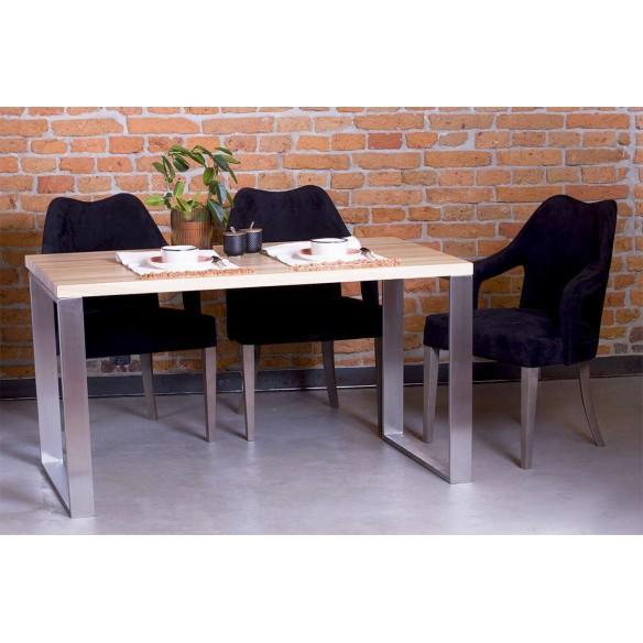 Stół z litego drewna z nierdzewną stalą
