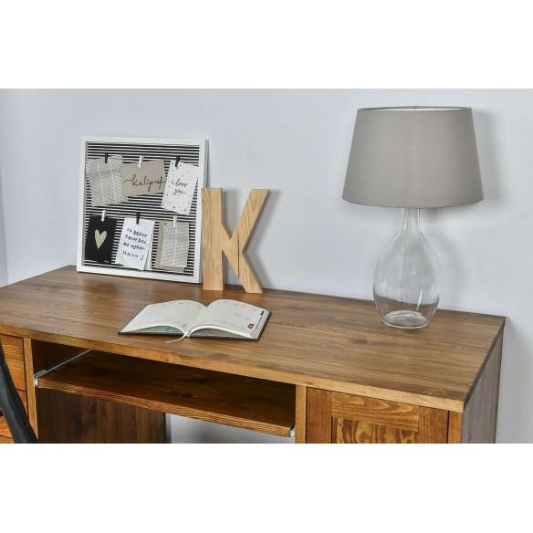 biurko loftowe z blatem drewnianym