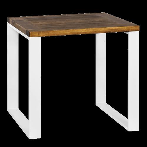 Stół metal drewno 80 biały kawiarnia
