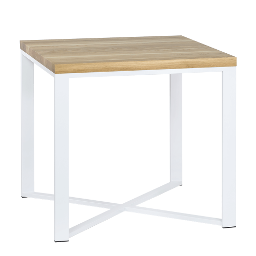 Stół metal drewno 80 biały