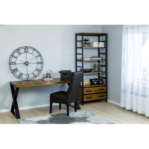 Metalowe biurko industrialne drewniane