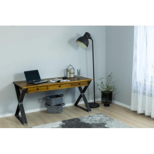 Loftowe biurko z szufladami drewniane