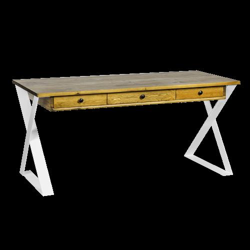 Biurko styl skandynawski metal drewno białe