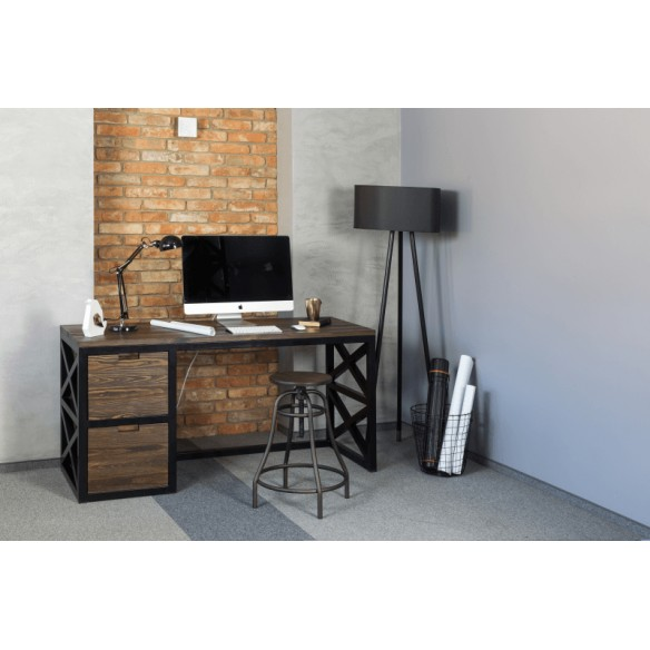 Loftowe biurko metal drewno