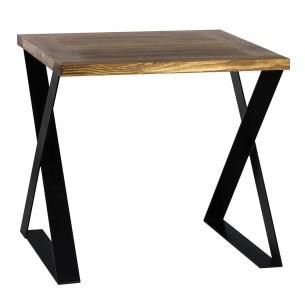 Stół metal drewno 80 czarny