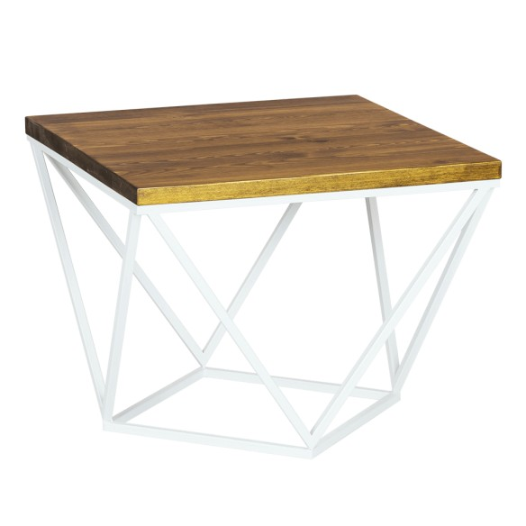 Industrialny stolik kawowy biały metal drewno