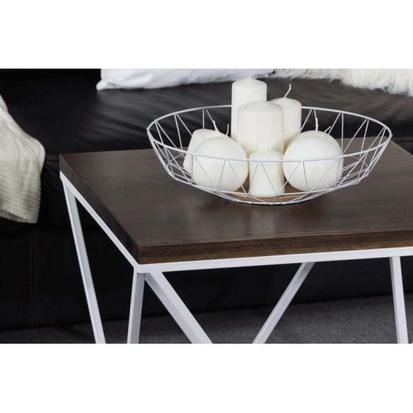 Metalowy nowoczesny stolik kawowy biały