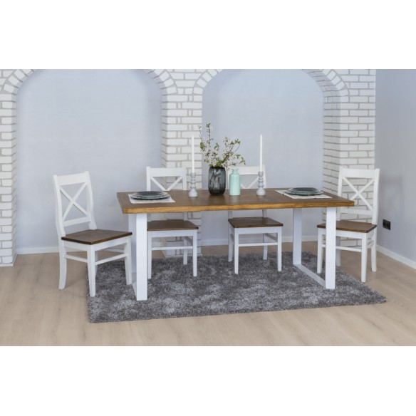 Industrialny loftowy stół do salonu metal drewno