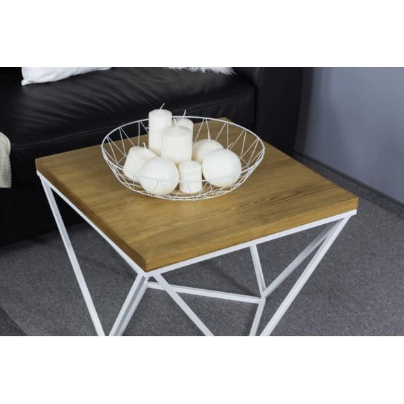 Industrialny stolik kawowy metal drewno