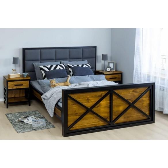Łóżko industrialne metal drewno