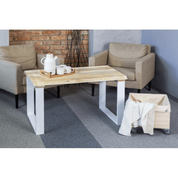 Industrialny stolik kawowy biały
