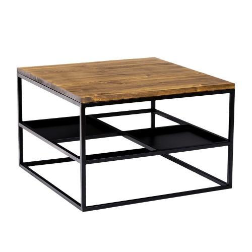 Kwadratowa ława kawowa metal drewno