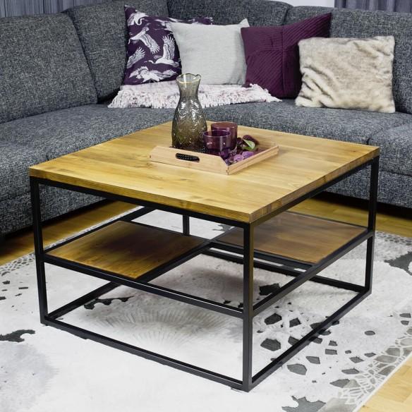 Stolik kawowy z drewnianymi półkami