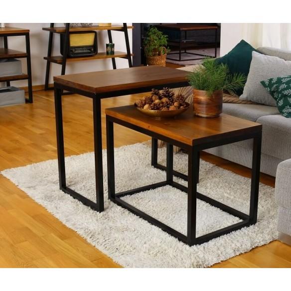 Podwójny stolik kawowy w stylu loft
