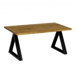 Stolik kawowy trójkątny metal drewno