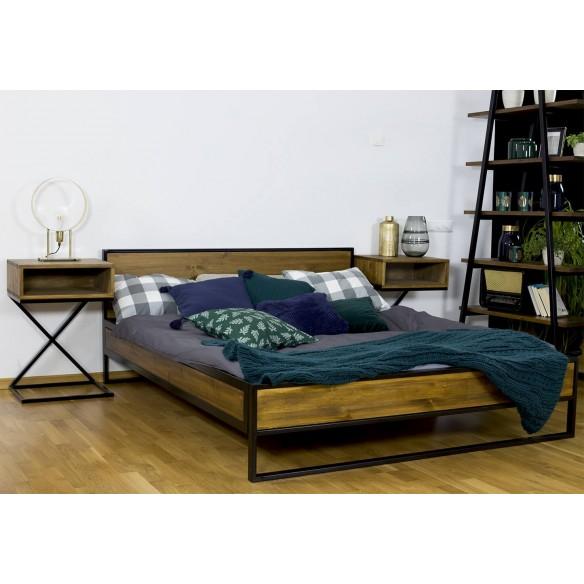 podwójne łóżko metal drewno 140