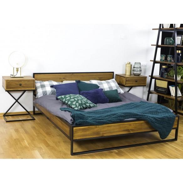 Łóżko metal drewno 160