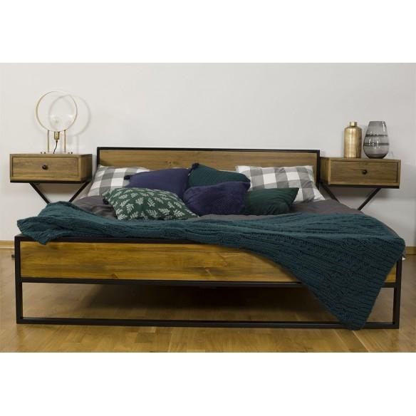 Łóżko drewno metal 180