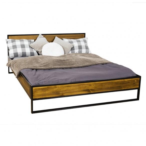 łóżko metal drewno 200 loft industrial