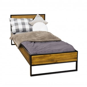 Łóżko metal drewno 90