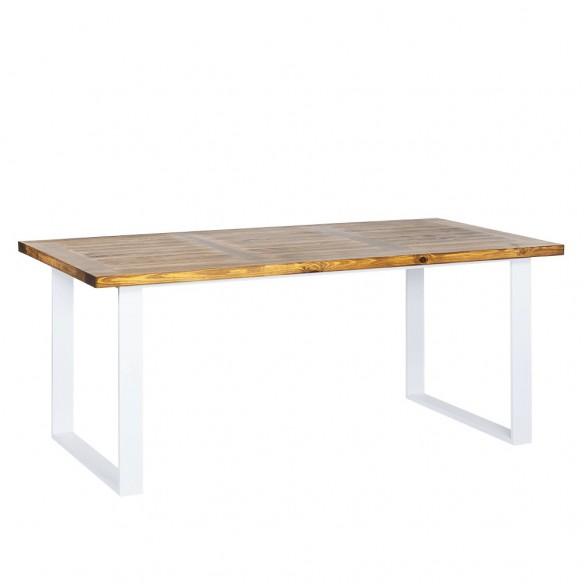 unikalny stół metal z drewnem