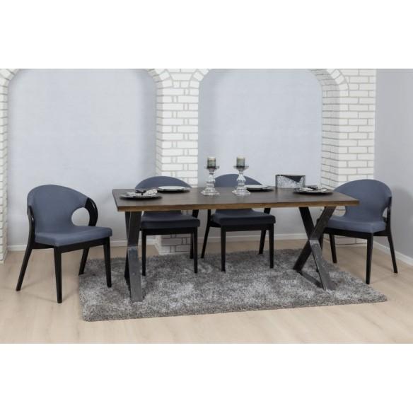 Stół industrialny drewniany 80 srebrny