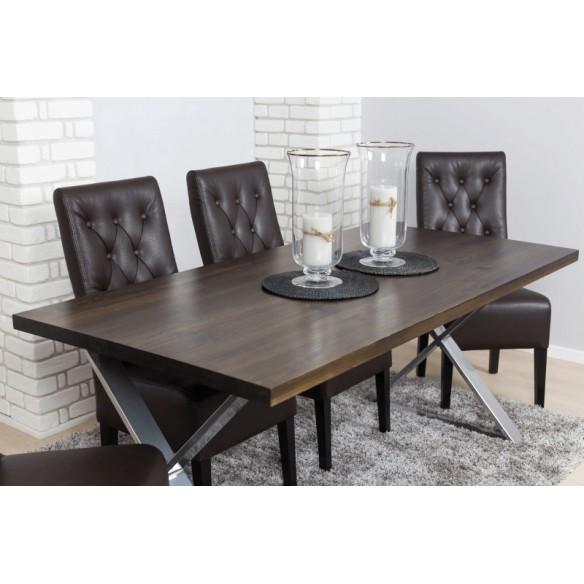 industrialny drewniany stół  80 srebrny chromowany