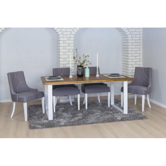 loftowy stół z blatem drewnianym
