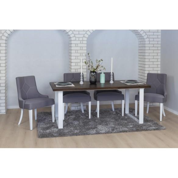 stół loftowy z białymi nogami do salonu