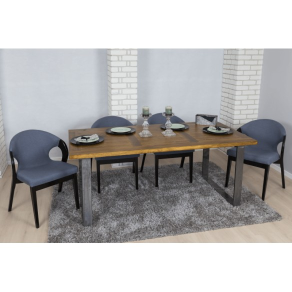 Industrialny stół do salonu z blatem drewnianym